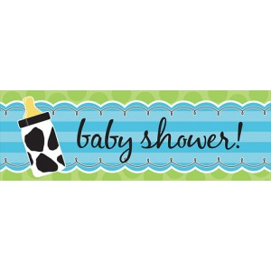 Baby Boy Cow print Giant Party Banner