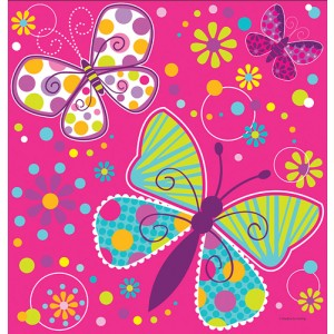 Butterfly sparkle border print plastic table cover