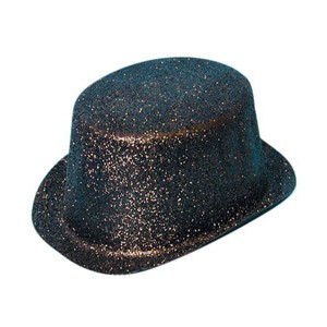 Black Glitter Topper Hat