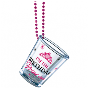 Birthday Princess Shot Glass Bead Necklace