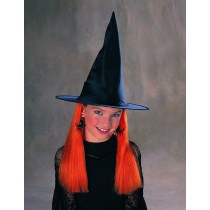 Witch Hat With Hair - Orange