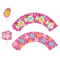 Pink Luau Fun Cupcake Wrapper & Picks