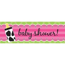 Baby Girl Cow print Giant Party Banner