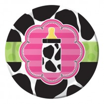 "Baby Girl  Cow print7"" Lunch Plates"
