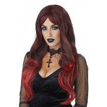 Black and Red Color Bleed Adult Wig