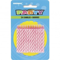 Pink Striped Birthday Candles