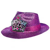 Birthday Star Purple Glitter Fedora